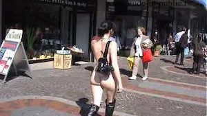 Nude chick on the streets
