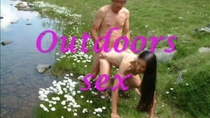 Outdoor sex by a happy couple