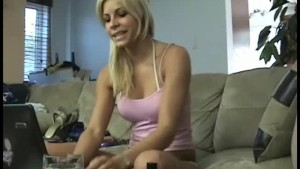 Blonde amateur goes ass to mouth with dildos