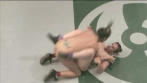 Busty girls wrestling - winner fucks loser