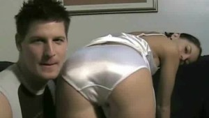 White fullback satin panty face sitting