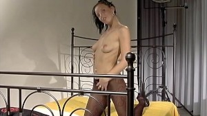 Panty hose model gets hosing