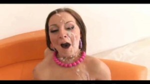 Two hotties gets drenched in huge cumshots!