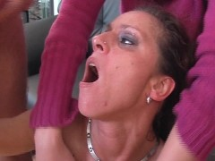 Sexpot gets help from girlfriend for 2 boyfriends cum