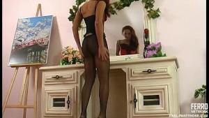 Anal sex in black pantyhose