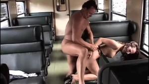 Super HOT Brunette fucked in the Train