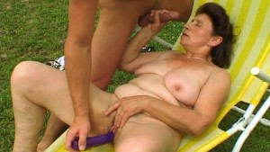Hot Grannie trying to turn on pool boy