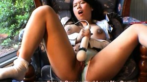 Hot Pierced Asian Cums with a Wand