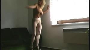 Blonde Katka in nylon