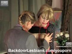 Lesbian crossdressers having anal sex