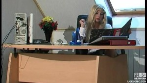 Steamy lesbian sex in the office