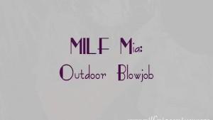blonde milf giving her man a great deep throat outdoors