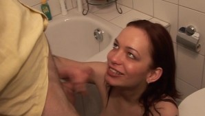 A blowjob, one of the many uses of the bathroom