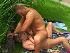 Older blonde woman  gets facial