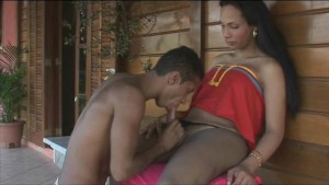 Steamy shemale sex on the porch