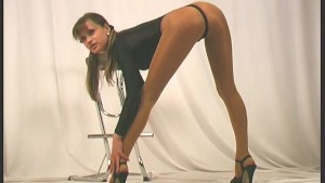Flexible nylon posing with Carmen