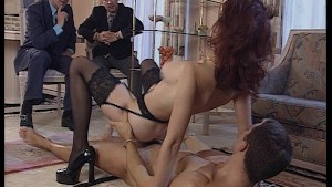 Two men watch while redhead plays with her toyboy. Pt.2/2