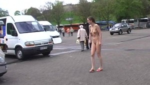 Naked chick in public streets