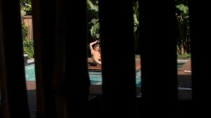 Hot Busty Blonde Masturbates By the Pool