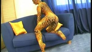 Busty girl in tiger spandex