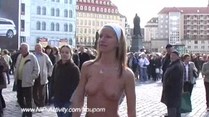 Slim flasher has fun in public