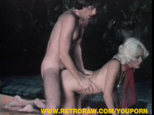 Retro hairy blonde spoiling cock outdoor