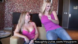 DIAMOND'S FIRST STRAPON – LESBO BLONDE BOOBS