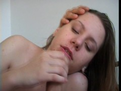 Picture Brunette blows until his cum comes