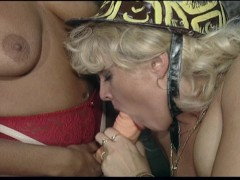 Classic threesome scene with two busty babes - DBM Video