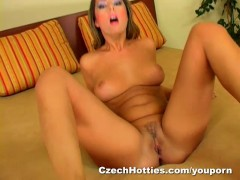 Brunette with great natural tits fucks her...