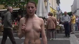 Sweet brunette shows her slim body