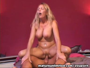 Blond Mature rides the cock intil.....