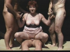 Three men fuck one horny lady