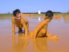 The girls love a beauty mud bath