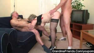Mature fucking with lover and husband