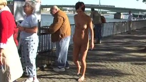 Nathy - Naked Babe Has Fun In Public Streets