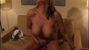 Big titty blonde sits on a dick