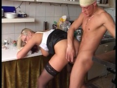 Giant blonde lady gets fucked from behind