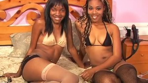 Chocolate Sistas With Double Ended Dildo