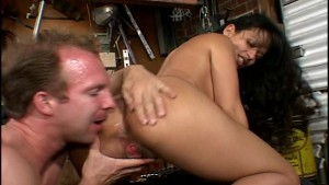 Hot latina mechanic lubes his piston