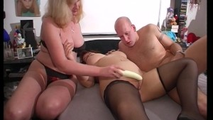 Flicking her clit while rubbing my dick