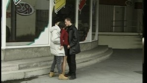 Horny girl takes two dudes on in the alley (duplicate)