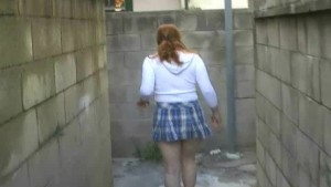 Lost Woman Walking Thru Maze To Piss