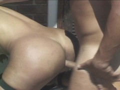 One tall chick with a dick gets fucked by his prick