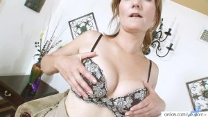 Seductive Cougar Striptease Masturbation