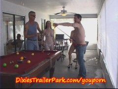 Picture Trailer Trash POOL Shooting with MILF and Co...