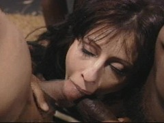 Hot brunette likes her dicks black and more than one at a time
