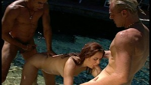 Double teamed by the pool