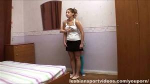 Lesbian instructor seduces busty girl