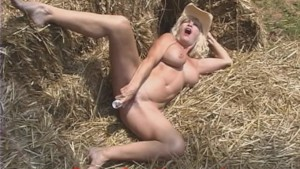 HOT Granny in the HAY pile MASTURBATING